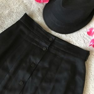 Vintage Chaus Satin Button Down Pleated Skirt